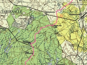 Section of the trail map from the State of New Jersey. Get one at the Atsion or Batsto Ranger stations.