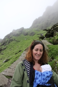Many people babywear through supermarkets. How many do it while climbing 618 ancient stone steps to a monastery at the top of an island mountain?