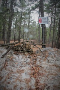 End of the blue trail blazes.  No dumping!