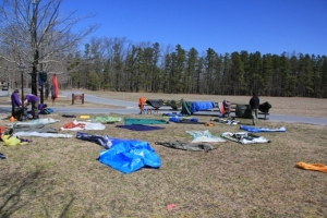 Drying out gear after a nigh of rain.