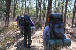 Heading down the trail.
