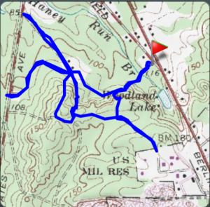 Our meandering 3.25 mile hike in the area.  The red marks where we parked.