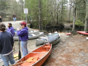 Getting the canoes ready.