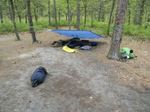 Who needs tents? (Answer- we did. It rained that night and a hole in the tarp soaked my sleeping bag).