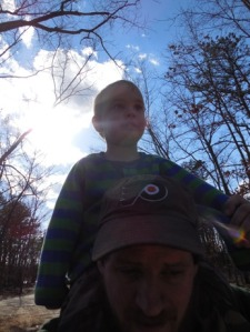 Then get your daddy to carry you on his shoulders those last few hundred feet.  To be fair, he was worried that we had left Mama at the beginning of the hike, and that we had better backtrack the almost two miles to get her.  Two year olds don't understand loops.