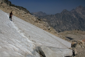 Inching over glacier covered trails.  Then sweating as your kids do.