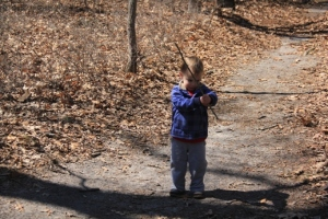 Jedi Master The Pres protects these woods from invisible bad guys.