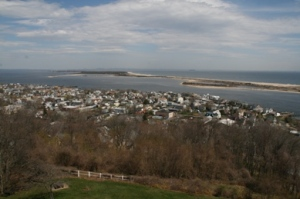 Birds eye view of Sandy Hook from Navesink Twin Lights in Highland.