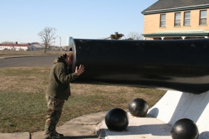Taking a really close look at the cannon.