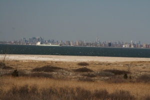 Zoomed in from the beach. Very beautiful, almost makes you forget that it's full of Yankees fans.