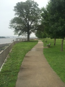 Trail runs alongside the river.