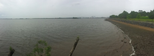 Panorama from the small viewing platform on the river.