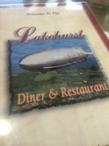 "We had lunch at the Lakehurst Diner.  The food wasn't great, but they do offer a burger called ""The Blimp"".  I hear you can only get it well done."