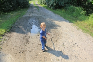 The Pres strongly recommends dragging a stick behind you and walking through any mud puddles that you can find.