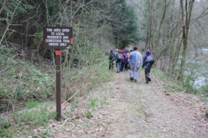 Trailhead!  Please respect private property along the trail.