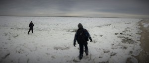 Meanwhile, down at the bay... ice flows?  That Scout is standing at the very edge of what is usually the beach.