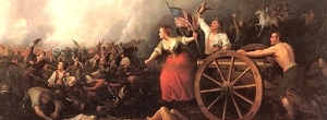 While not as epic as this picture, and while it's debatable is Ms. Hayes was Molly Pitcher, women certainly played a much overlooked role with the Continental Army and in the Revolution in general.