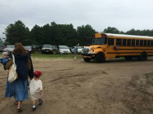 Bussing from the parking area to the festival.  Very impressed on how the buses navigated the narrow dikes they drove on!