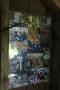 Photo collage of Ed inside the upper floor.