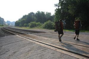 Crossing the tracks.