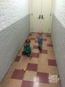 Being first, the doors weren't open yet.