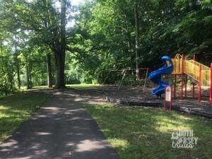 Past the playground.