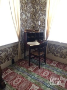 "Desk where Lincoln wrote his ""House Divided"" speech, as well as his 1st Inaugural Address.  This was tiny and cheap for a lawyer, and his wife even threw it away at one point.  Lincoln fished it out of the trash, had his friend repair it, and snuck it back into the house."