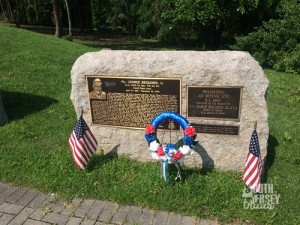 On the way to the bridge, monument to Private First Class George Benjamin, Jr, who was killed in action in the Philippines during World War II, and posthumously awarded the Congressional Medal of Honor for his actions there.